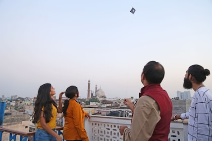 Group flying kites in Delhi