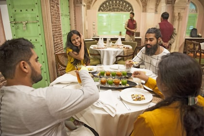 Tour group at a restaurant in Delhi