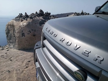 Front of Land Rover on the coast of Santorini