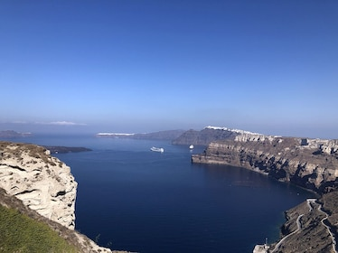 Bay on the coast of Santorini on a sunny day