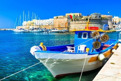 Small, colorful boat docked in Italy