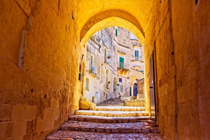 View from covered corridor of Matera
