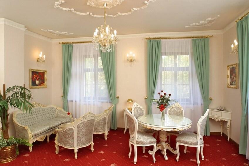 Show item 2 of 10. Sitting area at Cesky Krumlov hotel