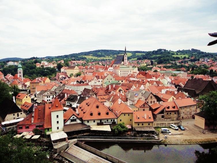 Show item 10 of 10. Aerial view of Cesky Krumlov, Czech Republic
