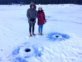 Ice Fishing Beautiful Banff, Alberta Guided Tour
