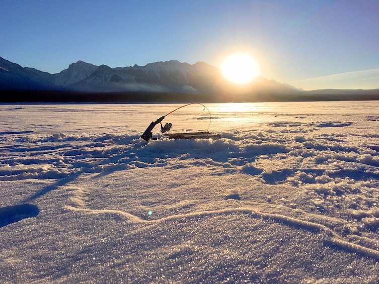 Show item 4 of 4. Fishing pole secured on a frozen lake