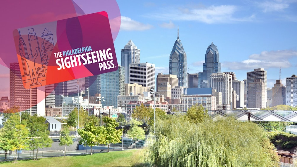 Show item 1 of 9. Sightseeing Pass graphic and the city of Philadelphia