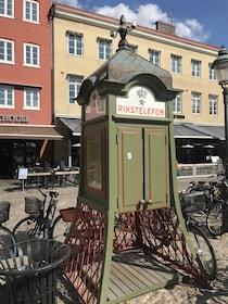 Old Rikstelefon phone booth in Lund, Denmark