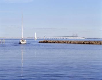 Boat and the Oresund Bridge in Denmark