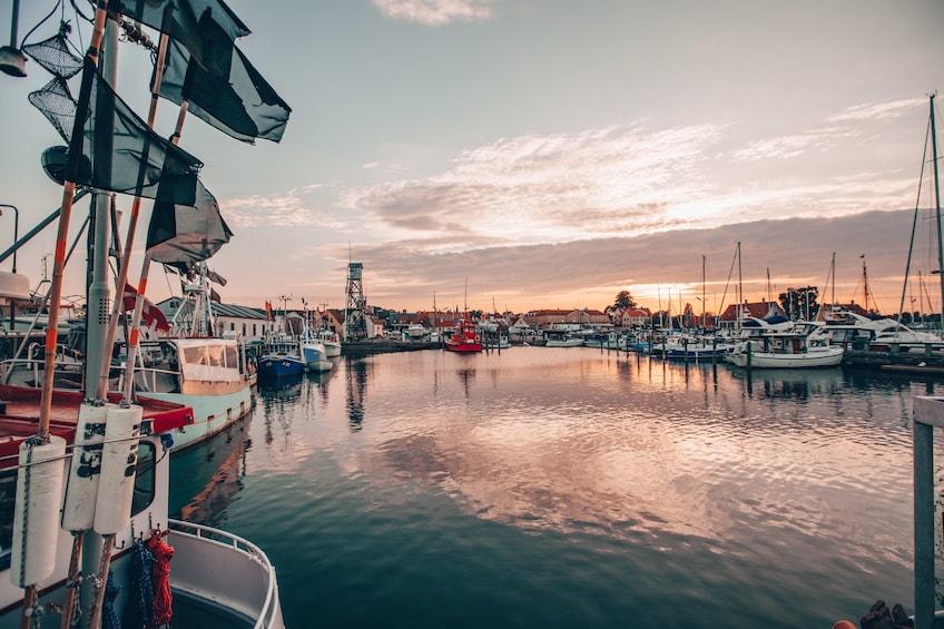 Show item 1 of 7. Sun sets over pier in Copenhagen, Denmark