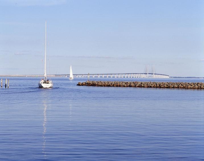 Show item 5 of 7. Boat and The Oresund Bridge