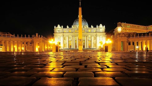 St. Peter's Basilica lit up at night