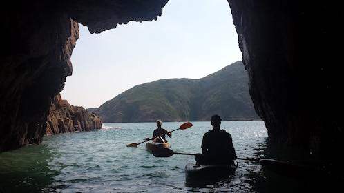 Group kayaking at Hong Kong Geopark
