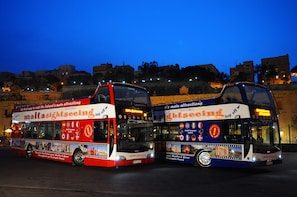 Malta by Night Tour on board Open top bus