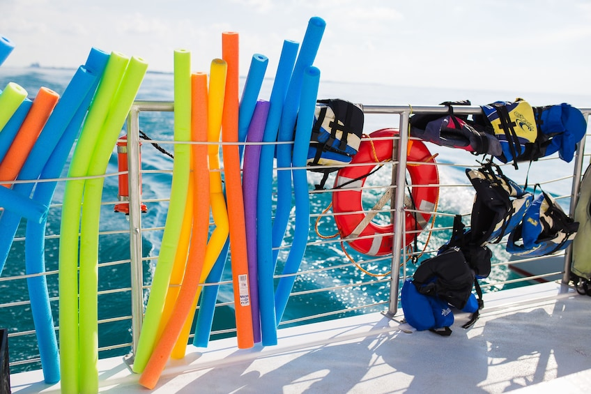 Show item 4 of 10. Pool noodles and life jackets on boat in Key West