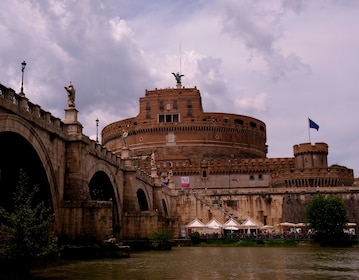 View of Castel Sant'Angelo from the river below in the evening