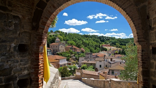 Archway facing sunny Perugia, Italy