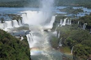 Brazilian Falls With Macuco Safari Boat
