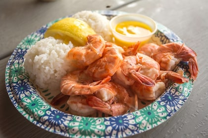 Plate of shrimp and rice in Oahu