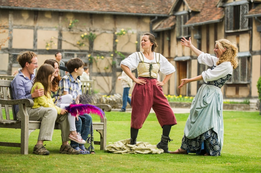 Actors in medieval costumes in Stratford-upon-Avon, England