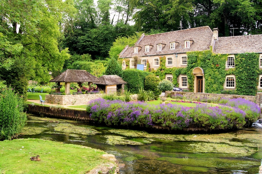 Garden in the Cotswold village of Bibury, England