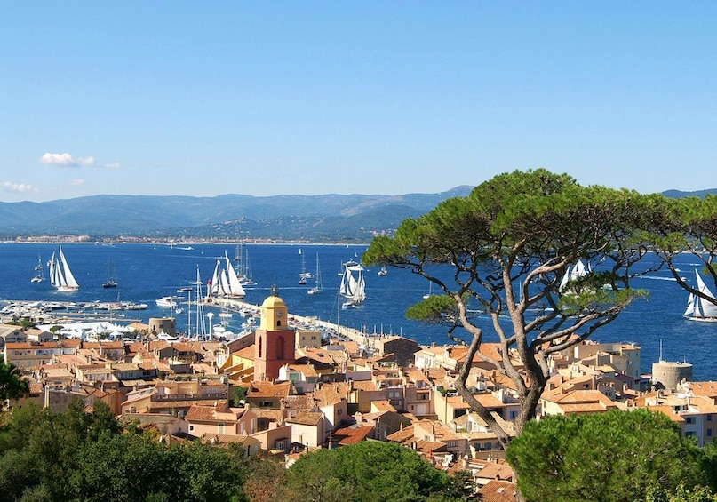 A look at the Gulf of St Tropez with parish church in Saint Tropez
