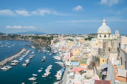 Buildings and small harbor in Procida, Italy