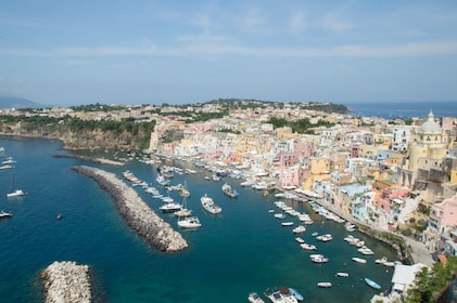 Aerial view of Procida coast and harbor