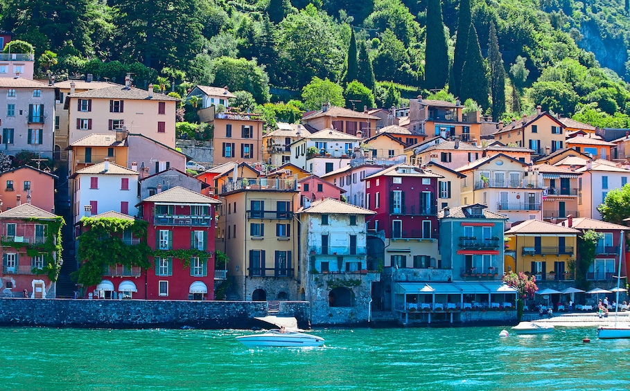 Show item 2 of 8. Colorful buildings on Lake Como in Italy