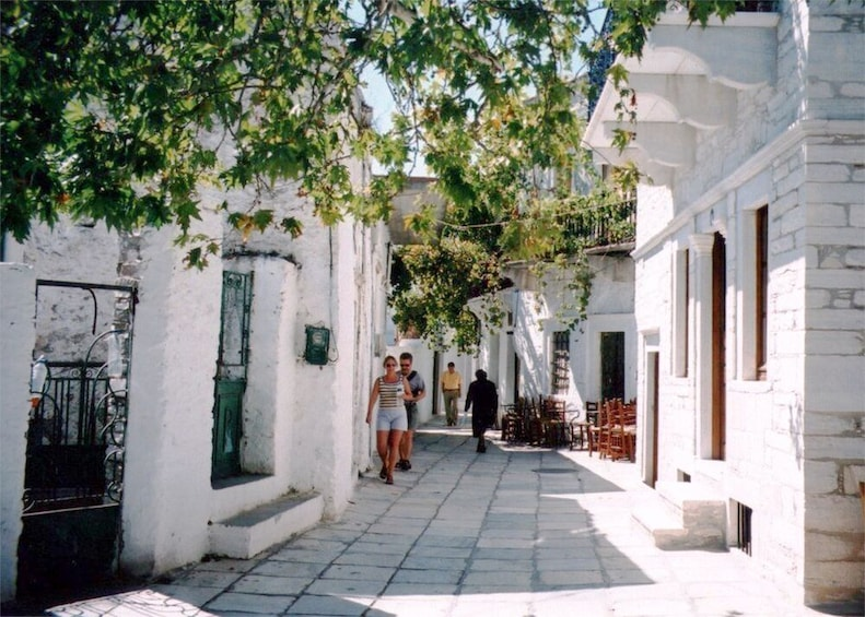 Tourists visiting Apeiranthos Village in Naxos, Greece