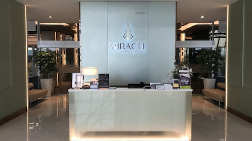 Reception area of the Miracle Lounge in Bangkok Airport