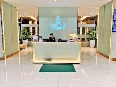 Receptionist at the Miracle Lounge in Bangkok Airport