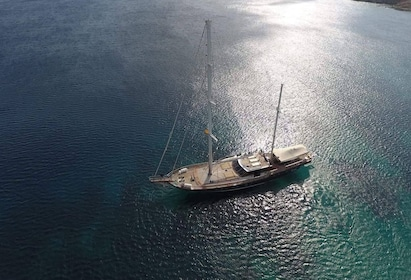 Aerial view of boat off the coast of Delos, Greece