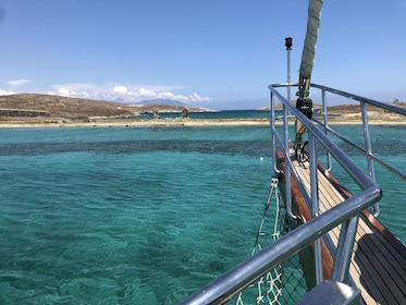 View off side of boat in Delos, Greece