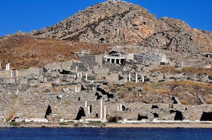 Cliffs on the coast of Delos, Greece