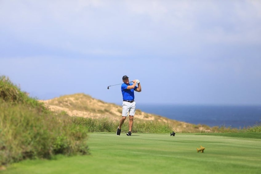 Show item 10 of 10. Man swings golf club
