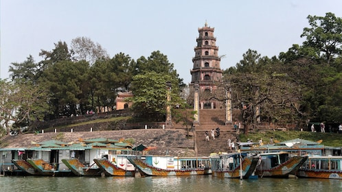 Boats and Thien Mu Pagoda in Hue, Vietnam