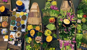 Floating Market Tour with Long Tailed Boat Experience