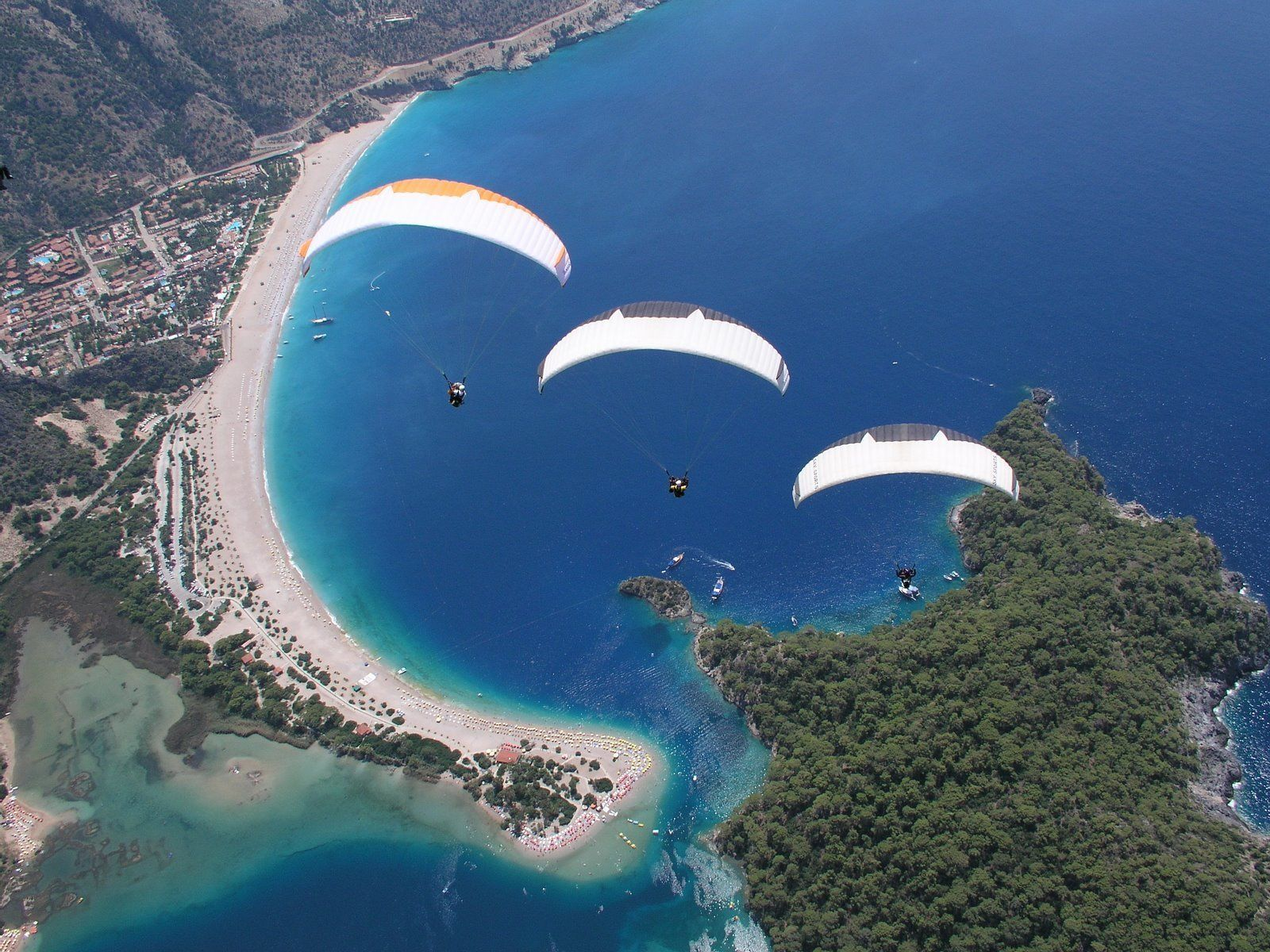 Paragliding over the Blue Lagoon