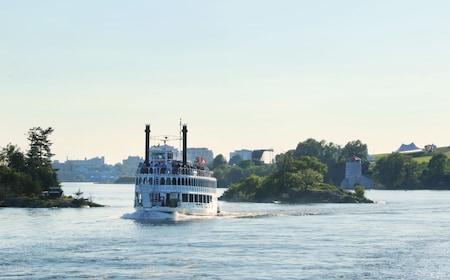 Cruise ship sails among the Thousand Islands