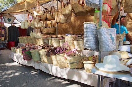 Woven baskets on display in Mallorca, Spain