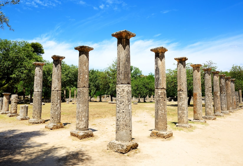 Show item 3 of 3. The Temple of Zeus ruins in ancient Olympia, Peloponnes, Greece