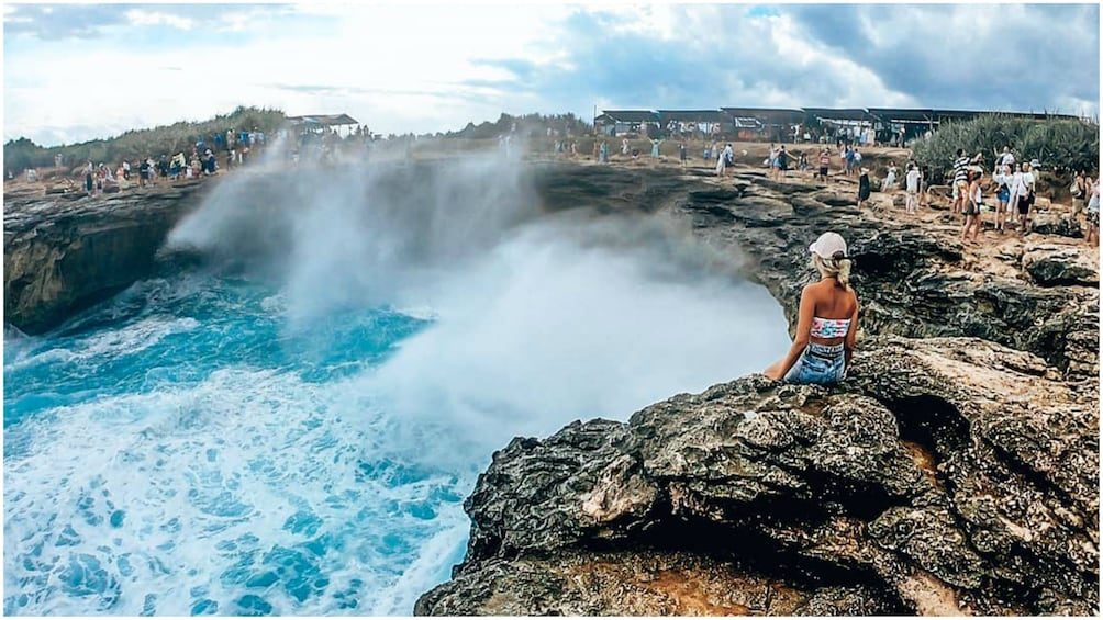 Show item 1 of 9. Water crashes onto rocks of Nusa Lembongan
