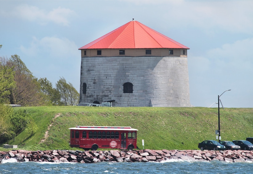 Show item 1 of 8. Trolley near Fort Frederick Tower in Ontario