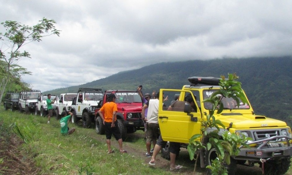 Line of jeeps on the mountainside in Bali