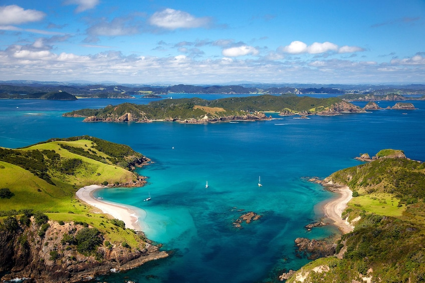 Show item 1 of 8. Aerial view of Bay of Islands in New Zealand