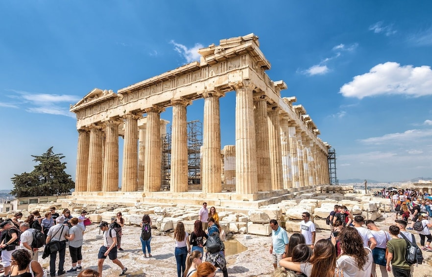 Tourists at the Parthenon Temple in Athens, Greece