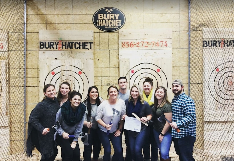 Small group at 2 Hour Axe Throwing Experience