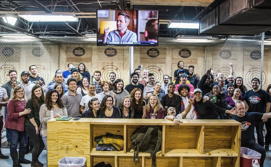 Large group at 2 Hour Axe Throwing Experience