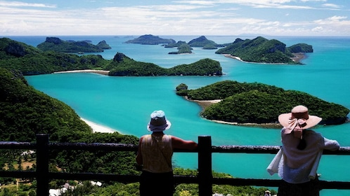 Tourists at viewpoint overlooking Mu Koh Angthong National Marine Park